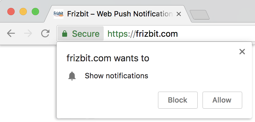 Example of the native opt-in prompt on Chrome Mac