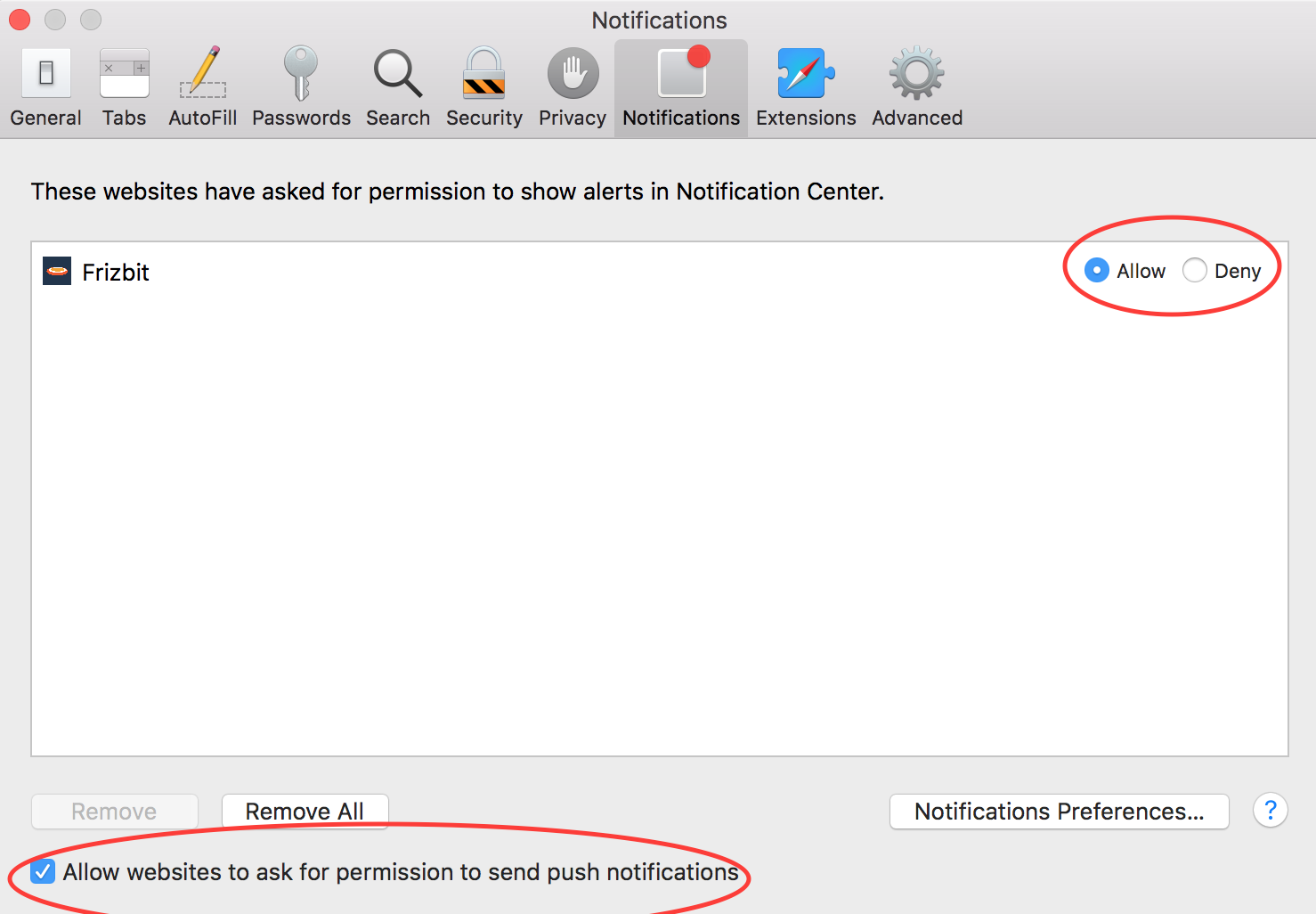 How to Disable Push Notifications on Safari Step 3