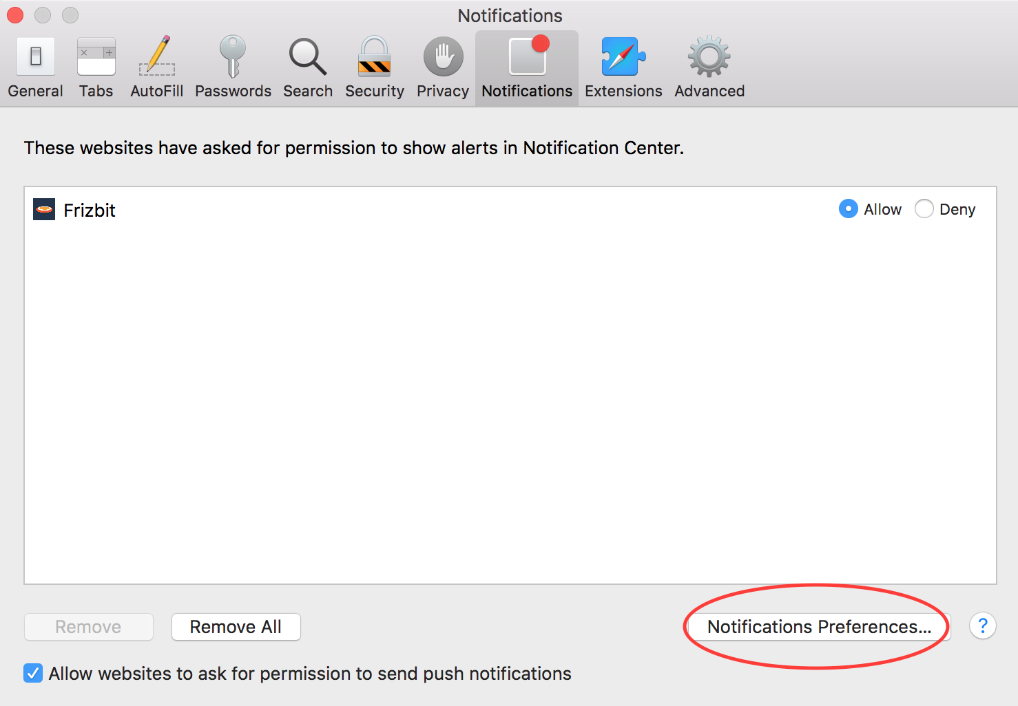How to Disable Push Notifications on Safari Step 4