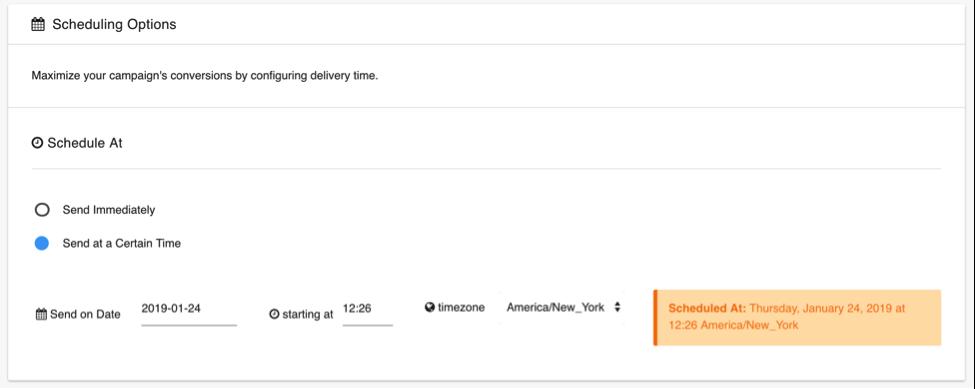 Frizbit push notification scheduling screenshot