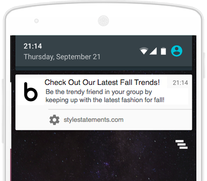Web push notification example for blogs on mobile
