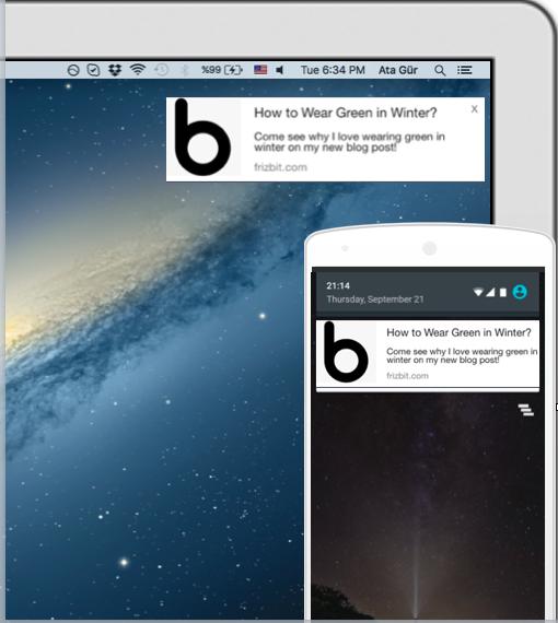 Web push notifications on desktop mobile devices