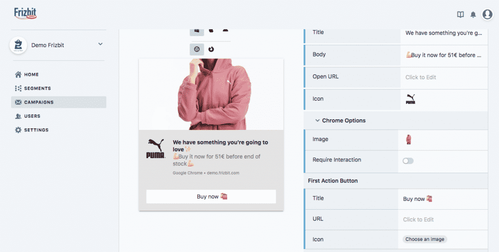 Frizbit Web Push Notification Dashboard
