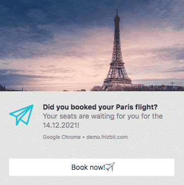 Travel web push notification
