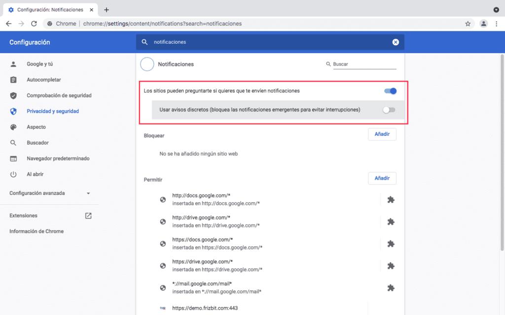 Cómo permitir notificaciones web push chrome
