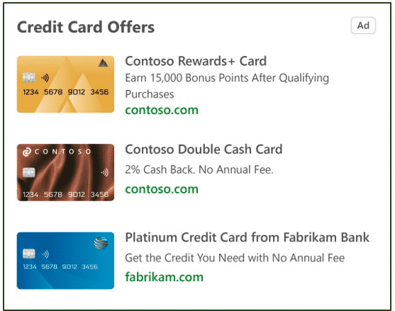 Credit Cards Microsoft Advertising