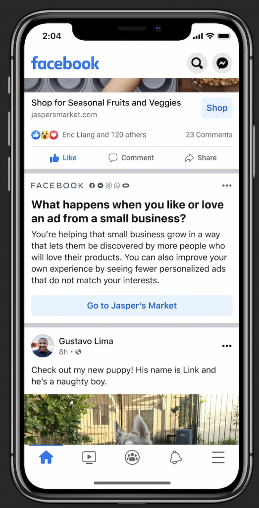 Facebook Small Business Personalized Ads